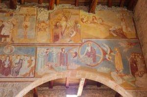 Chiesa di San Giorgio, affreschi dell'arcata centrale (parete destra)