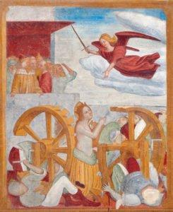 Chiesa di Santa Caterina, affresco con Santa Caterina condannata al supplizio delle ruote